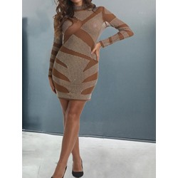 Sexy See-Through Diamond Long Sleeve Stand Collar Women's Dress
