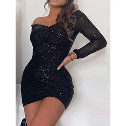 Sequins V-Neck Off Shoulder Long Sleeve Sexy Women's Dress