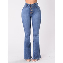 Casual Bellbottoms Button Slim Women's Jeans
