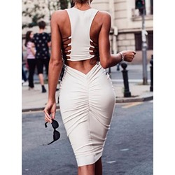 White Mid-Calf Sleeveless Lace-Up Pleated Bodycon Women's Dress