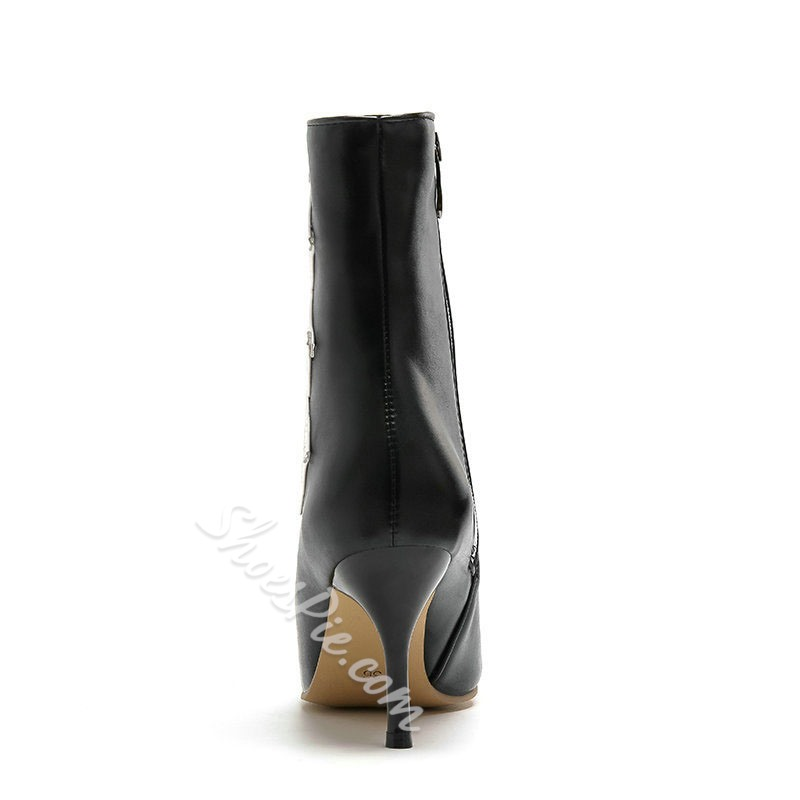 Shoespie Trendy Color Block Side Zipper Pointed Toe Casual Boots