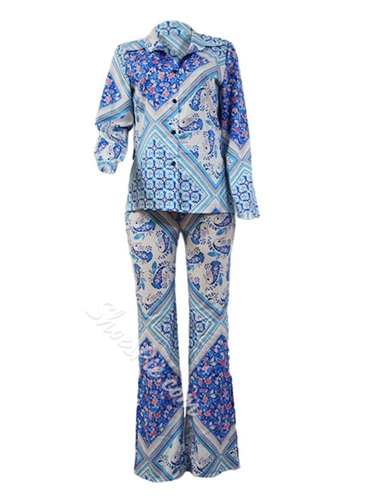 Blue Casual Print Single-Breasted Women's Two Piece Sets