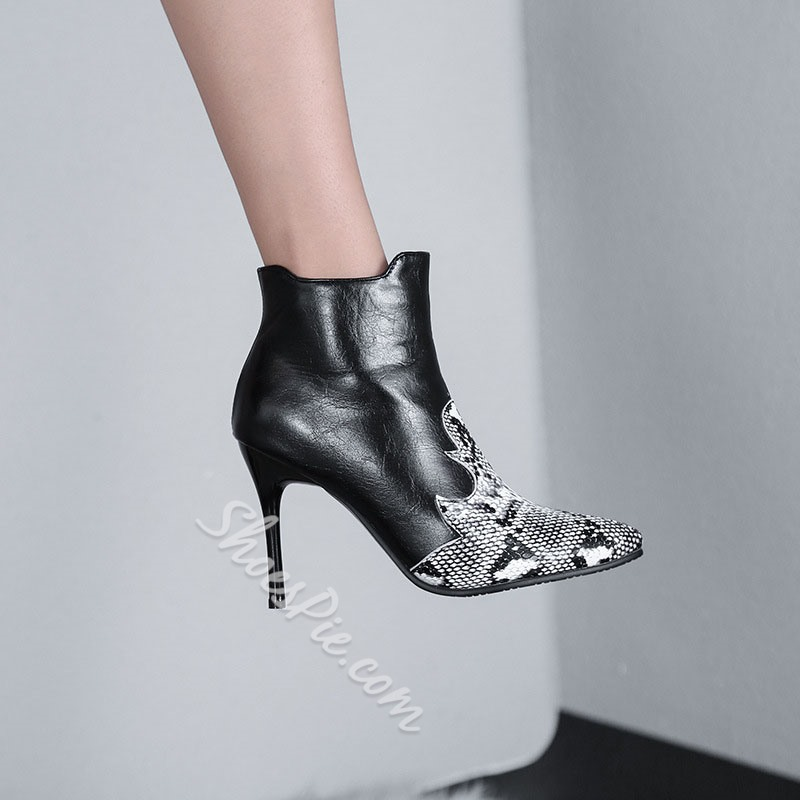 Shoespie Sexy Color Block Side Zipper Pointed Toe Casual Boots