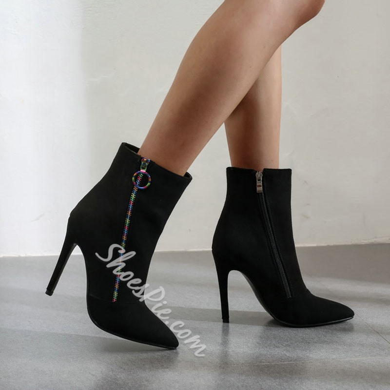 Shoespie Sexy Side Zipper Pointed Toe Thread Boots