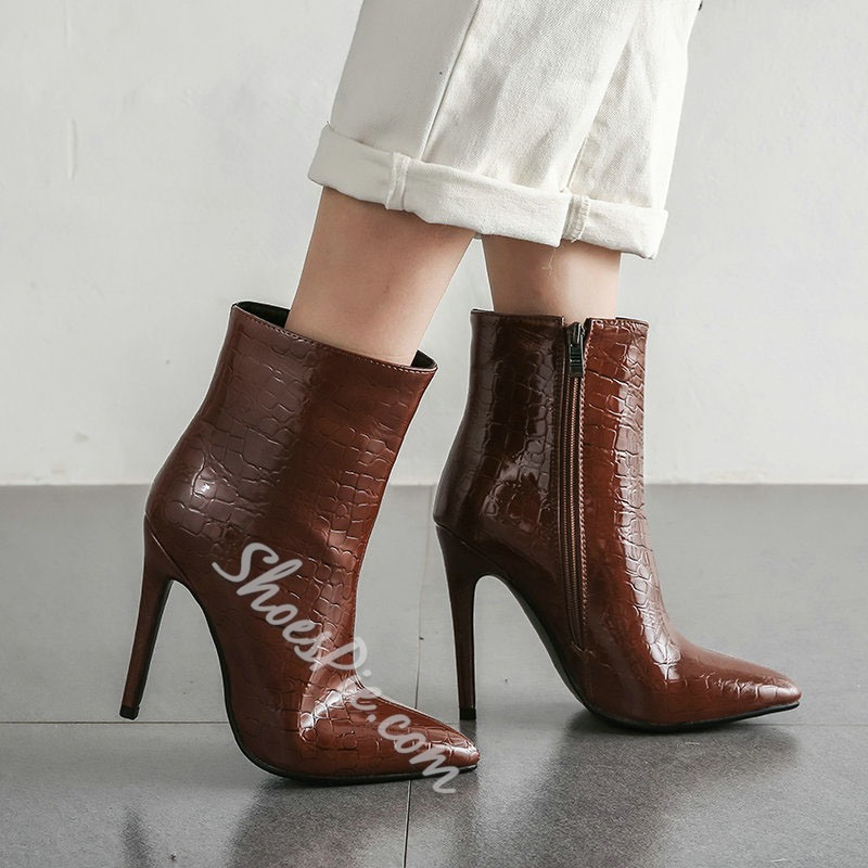 Shoespie Stylish Side Zipper Plain Pointed Toe Zipper Boots
