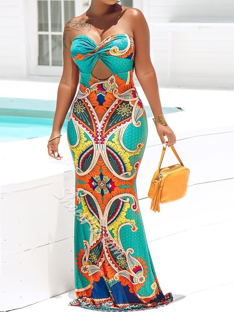 Geometric Print Hollow Sleeveless Floor-Length Strapless Mermaid Women's Dress