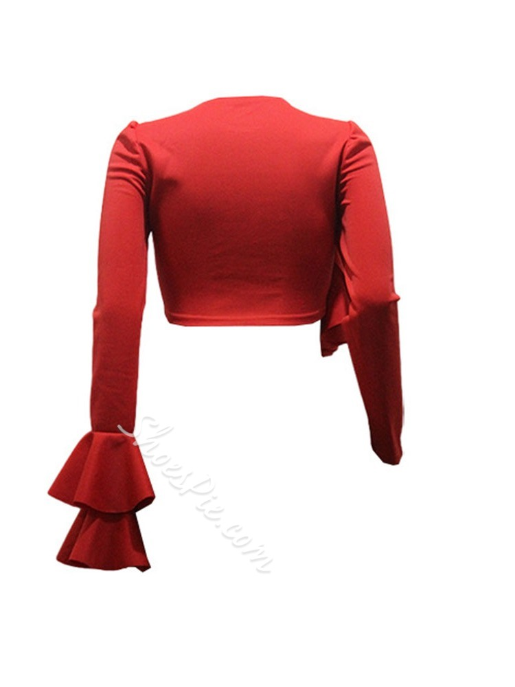 Red Asymmetric Pleated Round Neck Long Sleeve Women's Blouse