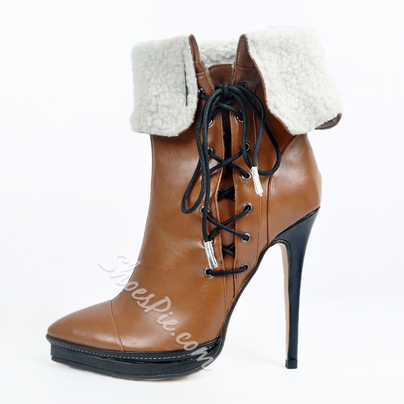 Shoespie Trendy Color Block Pointed Toe Lace-Up Front Purfle Boots