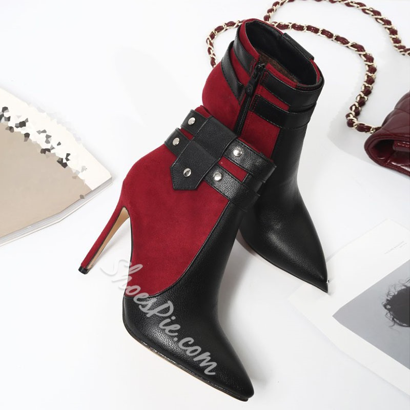 Shoespie Stylish Side Zipper Color Block Pointed Toe PU Boots