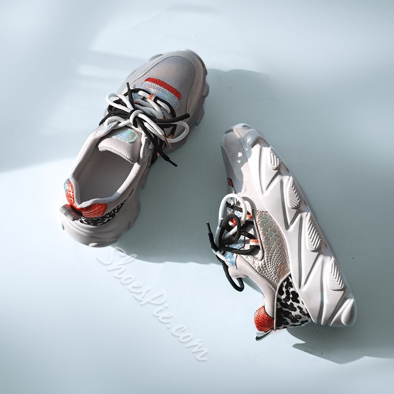 Shoespie Sexy Thread Lace-Up Round Toe Leather Sneakers