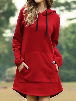 Red Casual Long Sleeve Asymmetric Hooded Women's Dress