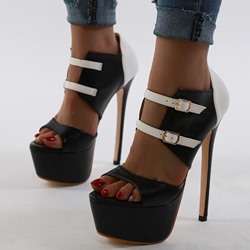Shoespie Trendy Buckle Stiletto Heel Heel Covering Color Block Sandals