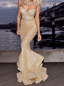 Elegant Golden Floor-Length Sequins Sleeveless Mermaid Women's Dress