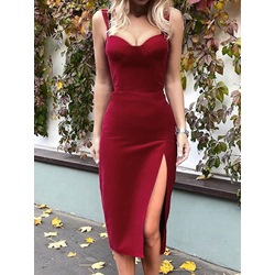 Sexy Red Split Mid-Calf Sleeveless Bodycon Women's Dress