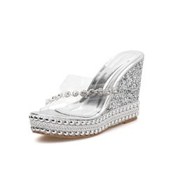 Shoespie Stylish Rhinestone Wedge Heel Cross Western Slippers