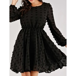 Black Appliques Polka Dots Long Sleeve A-Line Women's Dress