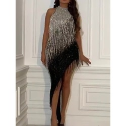 Cocktail Black Asymmetric Tassel Sequins Halter Women's Dress