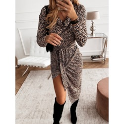 Leopard Split V-Neck Mid-Calf Asymmetric Pleated Women's Dress
