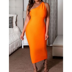 Orange Asymmetric Sleeveless Oblique Collar Bodycon Women's Dress