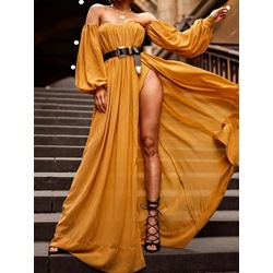 Yellow Off Shoulder Lantern Sleeve Split Floor-Length Women's Dress