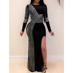 Black Diamond Split Floor-Length Round Neck Women's Dress