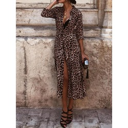 Sexy Leopard Print Lapel Single-Breasted Women's Dress