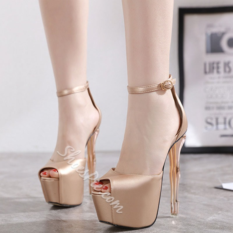 Shoespie Sexy Thread Line-Style Buckle Stiletto Heel Plain Thin Shoes