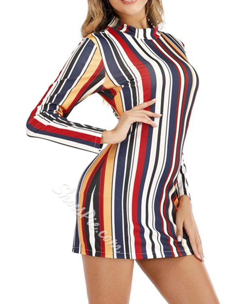 Casual Stripe Long Sleeve Stand Collar Bodycon Women's Dress