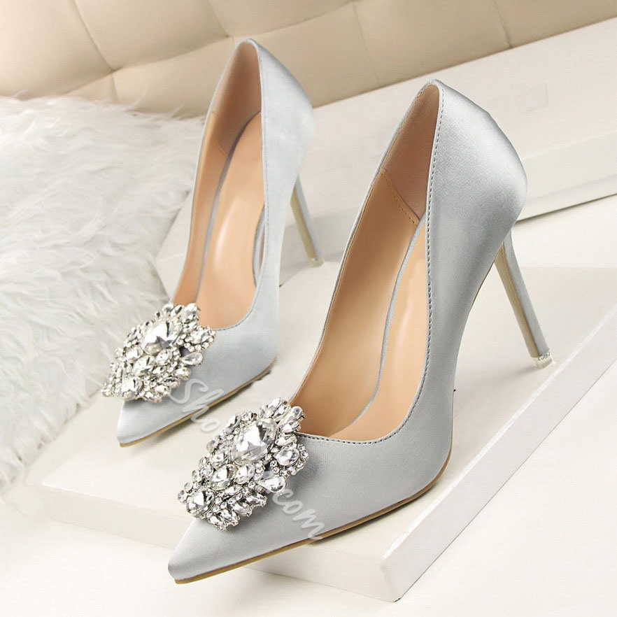 Shoespie Trendy Stiletto Heel Pointed Toe Rhinestone Low-Cut Upper Thin Shoes