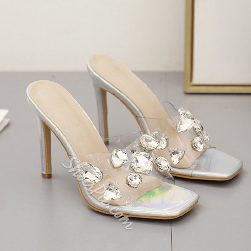 Shoespie Stylish Slip-On Stiletto Heel Rhinestone Casual Slippers
