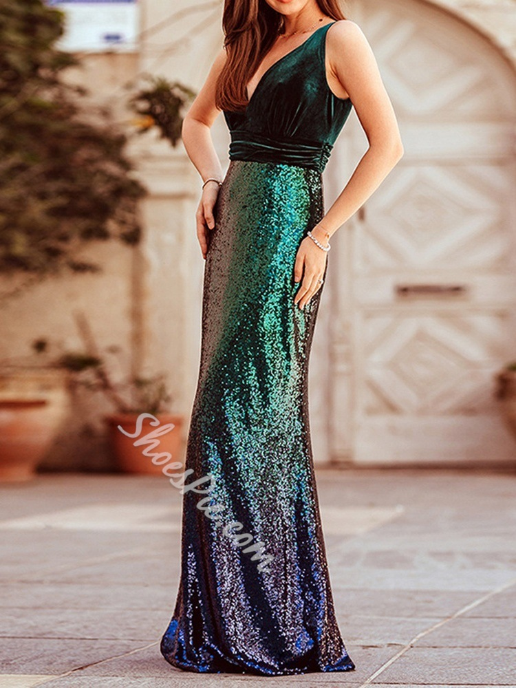 Elegant Green V-Neck Sleeveless Floor-Length Sequins Women's Dress
