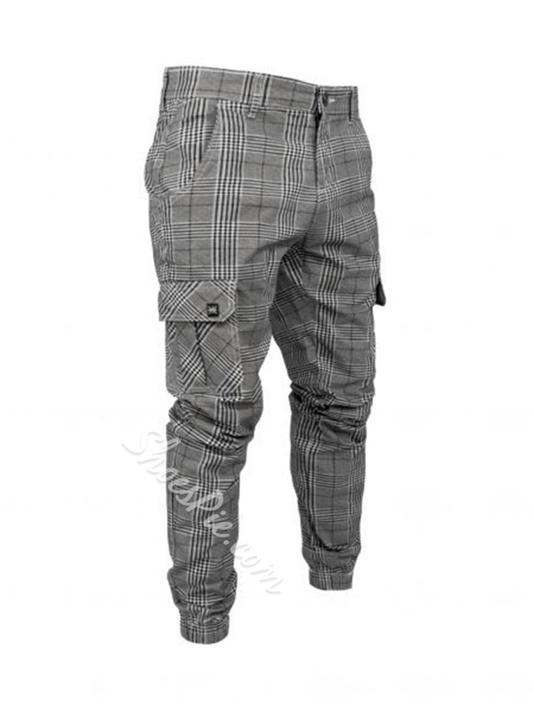 Button Plaid Overall Casual Four Seasons Casual Pants