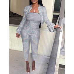 Sequins Off Shoulder JumpsuitLong Sleeve Jacket Women's Two Piece Sets