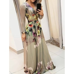 Elegant V-Neck Long Sleeve Floral Print Party Women's Dress