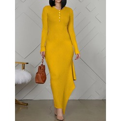 Yellow Round Neck Floor-Length Long Sleeve Asymmetrical Women's Dress