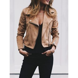 Long Sleeve Slim Zipper Turn-down Collar Women's Jacket