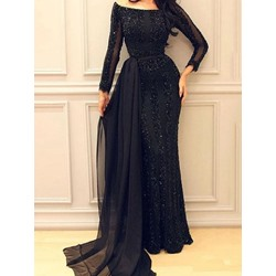Black Banquet Sequins Floor-Length Off Shoulder Women's Dress