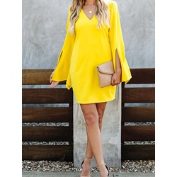 Yellow V-Neck Long Sleeve Split Women's Dress