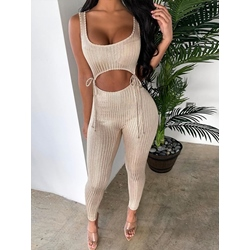 Sexy Vest Lace-Up Ankle Length Pants Women's Two Piece Sets