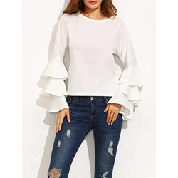 Plain Ruffle Sleeve Round Neck Casual Women's Blouse