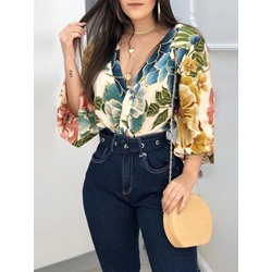 Print Plant V-Neck Backless Sexy Women's Blouse