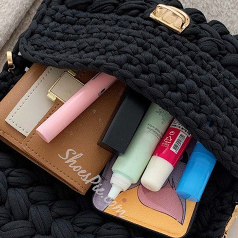 Shoespie Cotton Knitted Rectangle Crossbody Bags