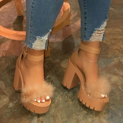 Shoespie Trendy Chunky Heel Open Toe Line-Style Buckle Casual Sandals