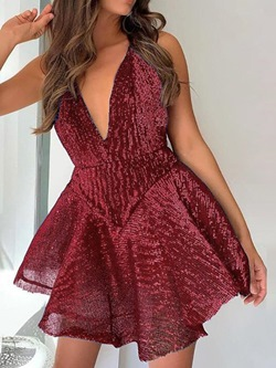 Burgundy V-Neck Sleeveless Sequins Cocktail Women's Dress