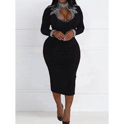 Sexy Rhinestone V-Neck Long Sleeve Stand Collar Women's Dress