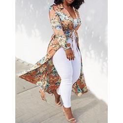 Floral Print Lace-Up Long Sleeve Slim Women's Trench Coat