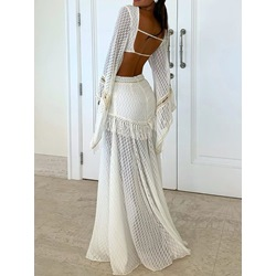 Backless Floor-Length Long Sleeve A-Line Women's Dress