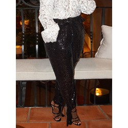 Slim Sequins Lace-Up Pencil Pants Women's Casual Pants
