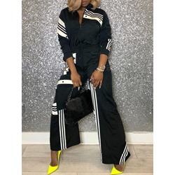 Black & White Stripe Jacket Wide Legs Pants Women's Two Piece Sets