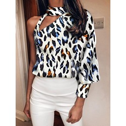 Leopard Print Long Sleeve One Shoulder Women's Blouse